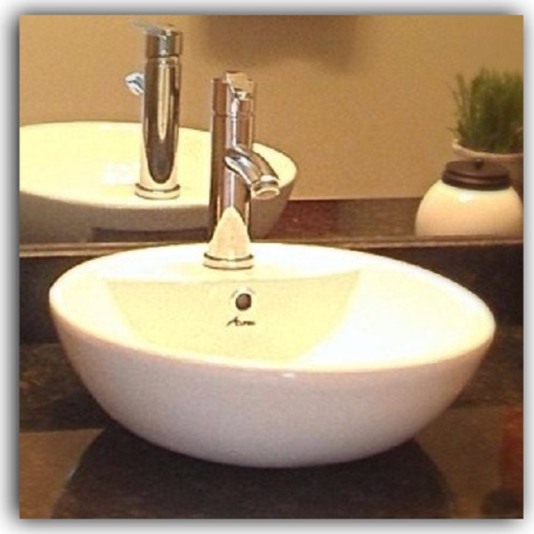 Vessel Sink with Alpha Faucet