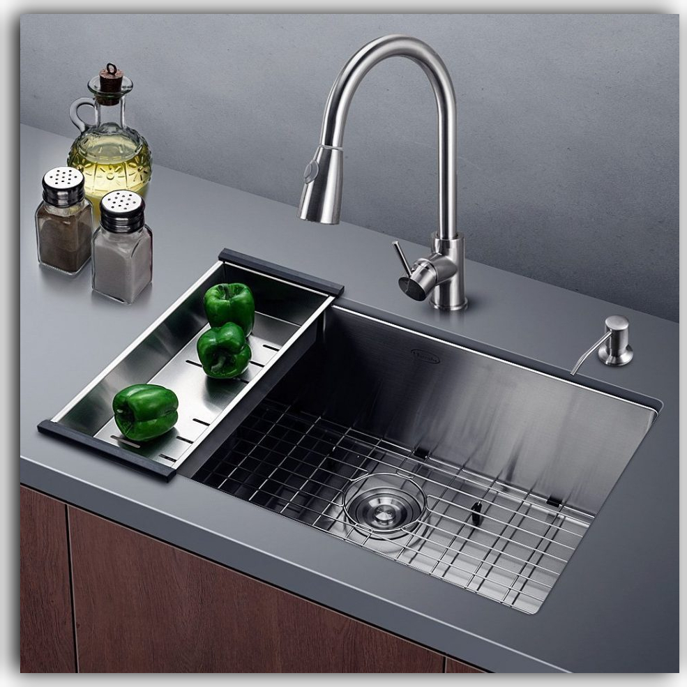 Handmade Undermount sink with grid and basket, Alpha Faucet and Soap Dispenser